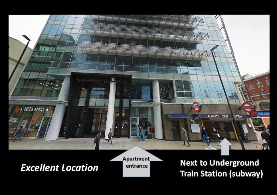 Excellent location, with underground (subway) train station directly next door!
