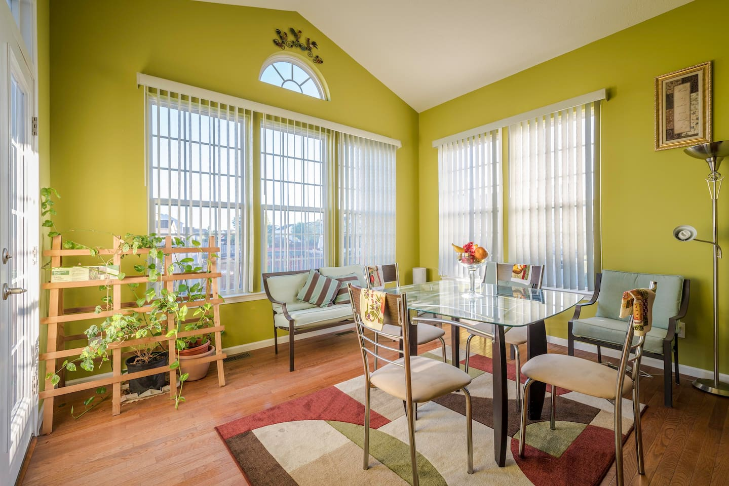 Sun room or morning room with breakfast table.