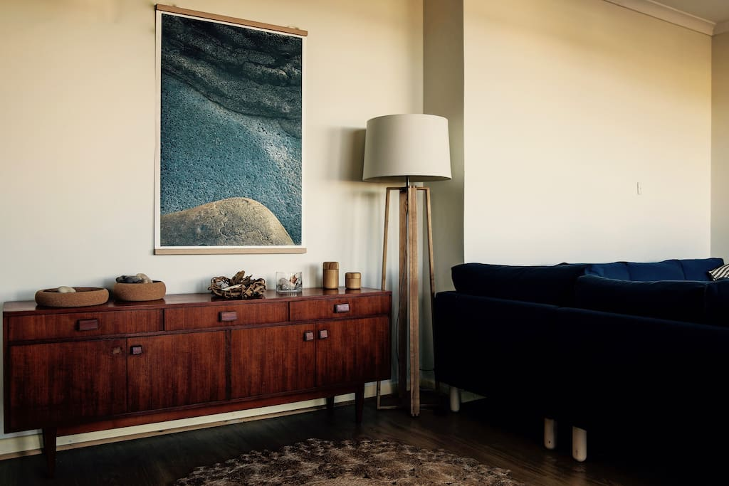 Entry way - mid-century furniture an natural landscape inspired photographic artworks