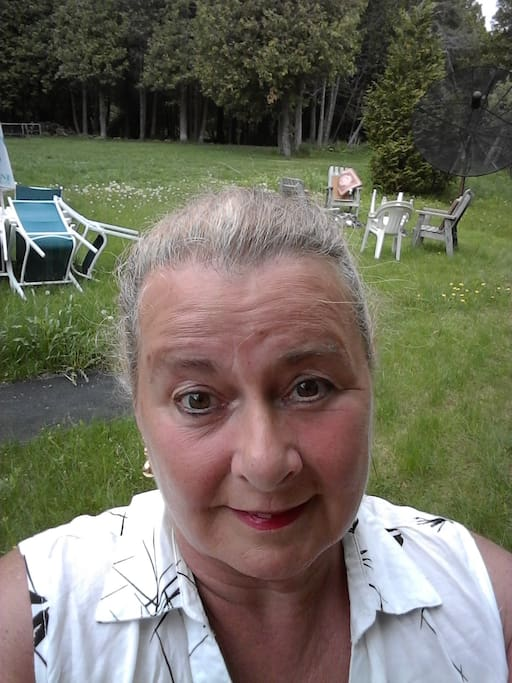 Hi this is me, Cheryl.  Im standing in the backyard.  There is the firepit behind me with heavy wooden chairs and to the left is table with 6 chairs.