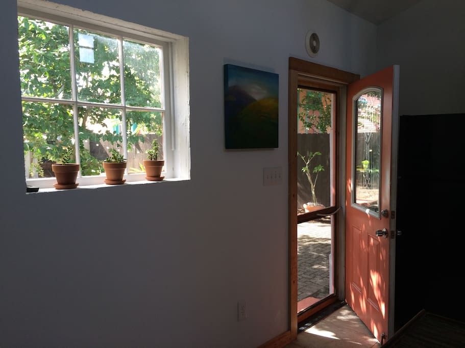 The entrance of the cottage.  When you walk through the front door you are in the big, open kitchen.