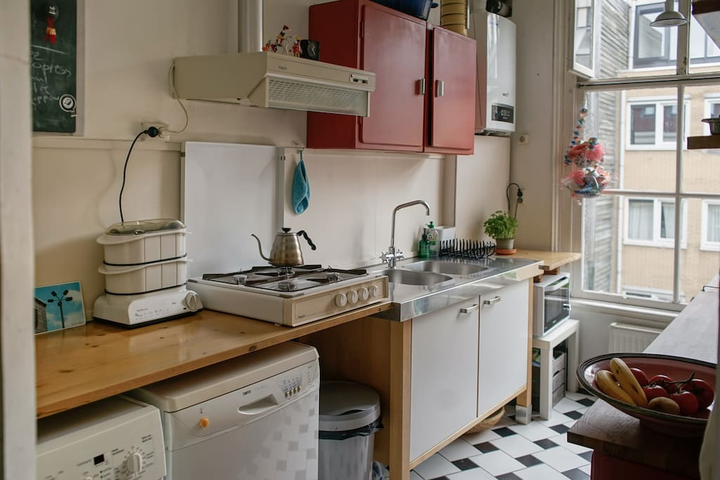 kitchen is not sophisticated but well equipped and cosy..