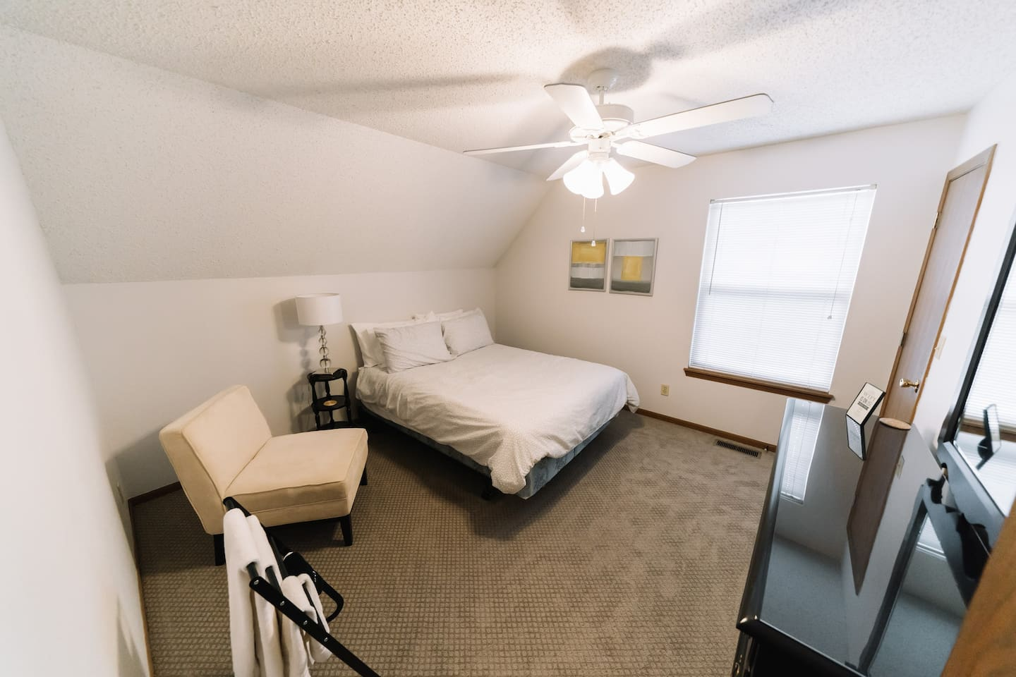 Comfy & large Queen size bedroom! Individual handle keyed lock doors & hotel type locks, for your peace of mind.