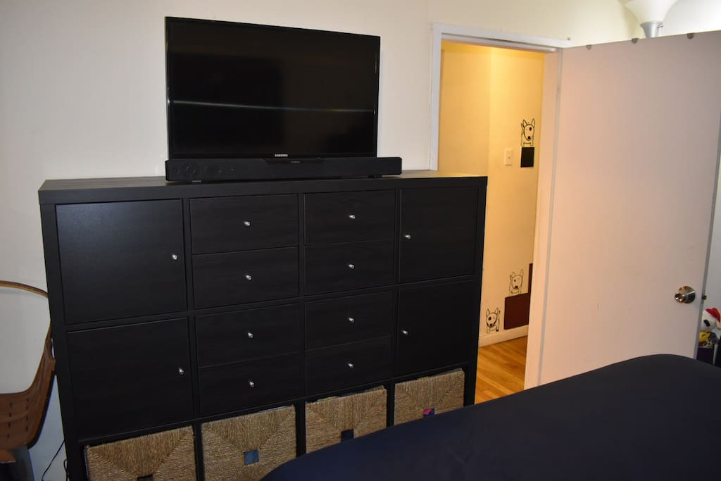 Entertainment Center  With TV Netflix Available  Bluetooth Speakers
