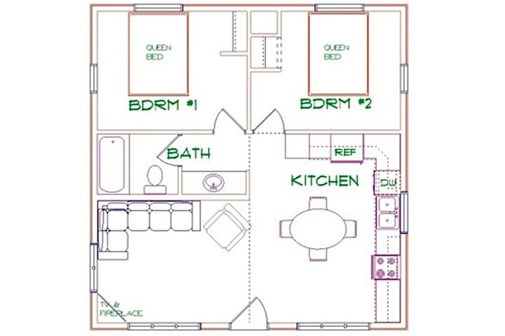 Floor Plan - The two bedrooms share a bath with a tub/shower.  Sink separated from toilet and shower.