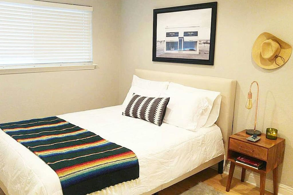 Mexican blankets, lavender candles, Marfa art and local reads... not to mention the incredibly comfortable mattress and sheets. Don't take my word for it, check out the reviews! :)