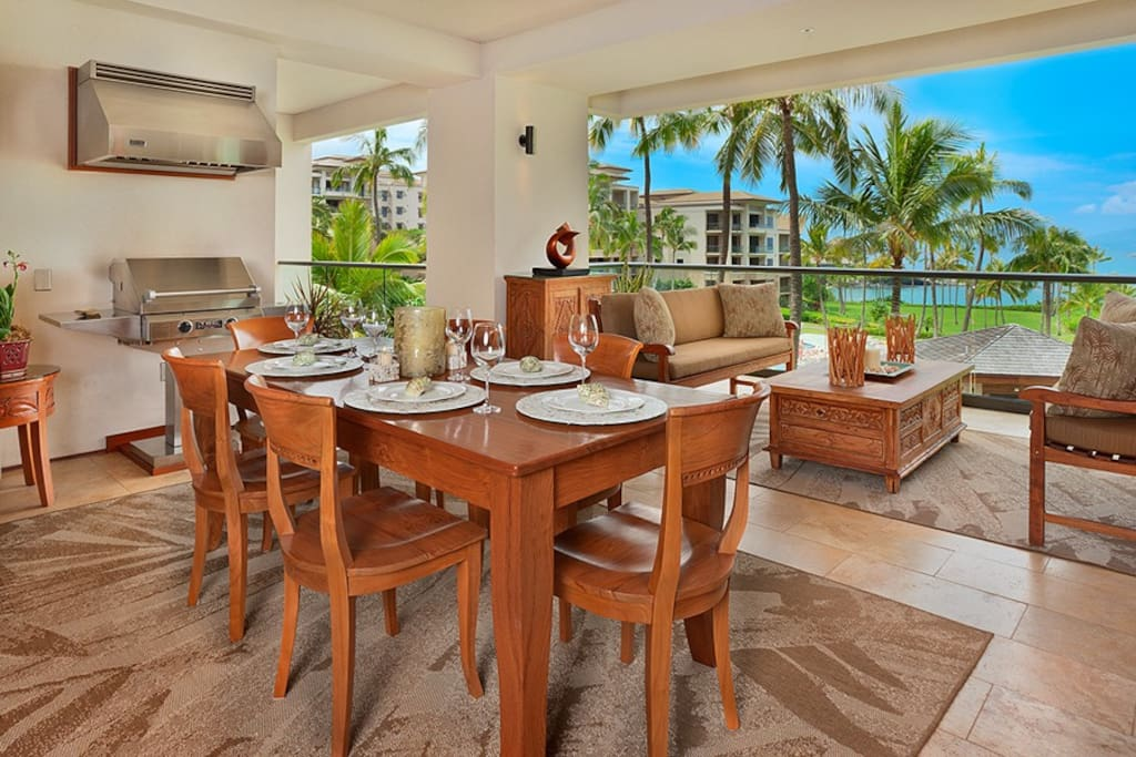 Ocean View Outdoor Covered Veranda and Dining Area