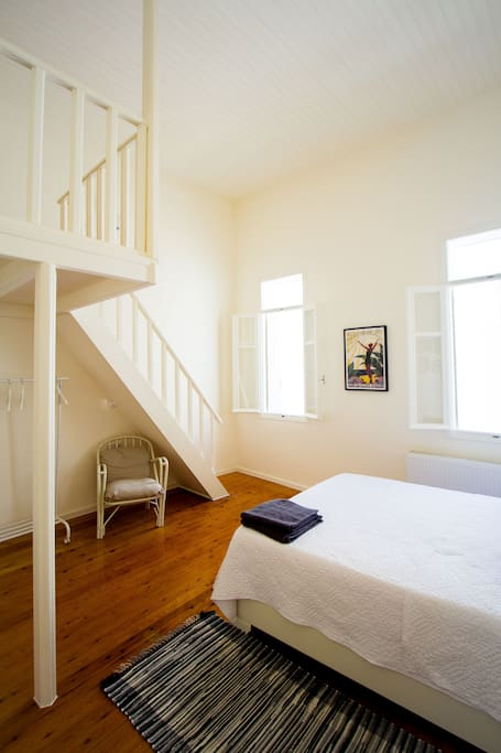 Attic on top of the bedroom room for an extra two people. Atm not available.
