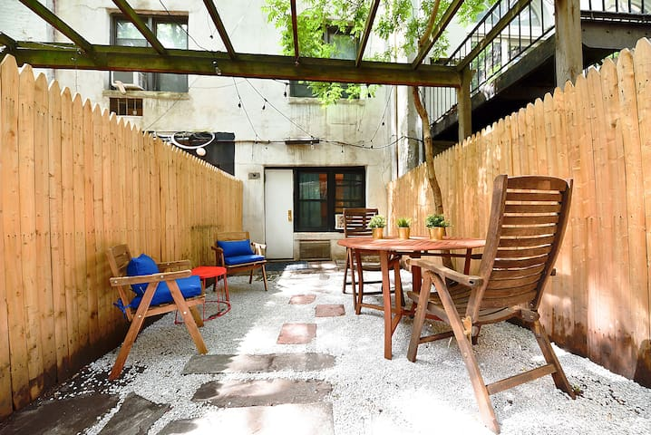 Large Private Furnished Patio + Cozy Indoors