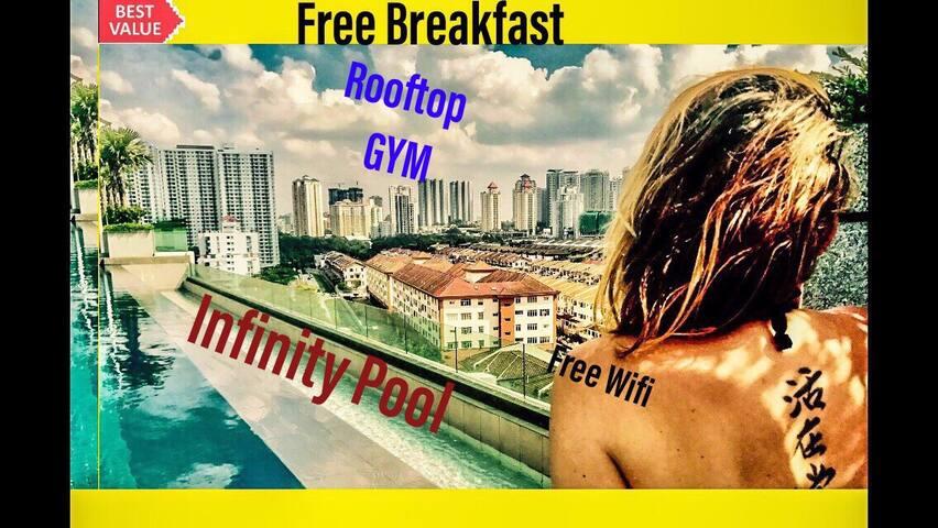 Condo wth Infinity Pool&Gym Rooftop near Desapark