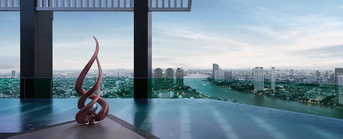 Top Luxury, River View, Pool, WiFi, Gym, BTS - Bangkok - Appartement en résidence