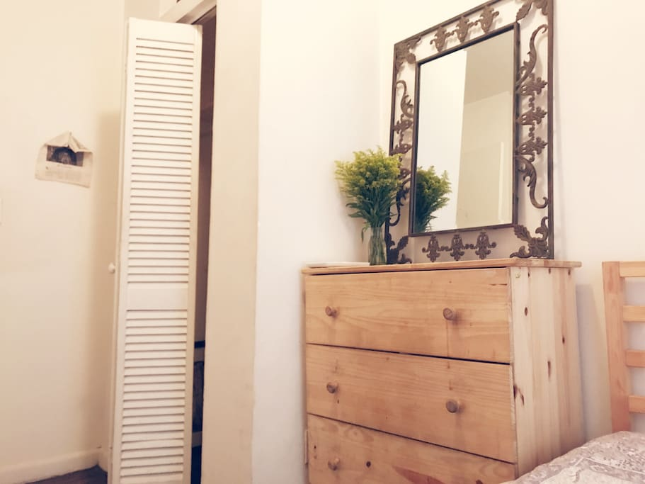 Angle from bed- mirror, always provide fresh flowers :)
