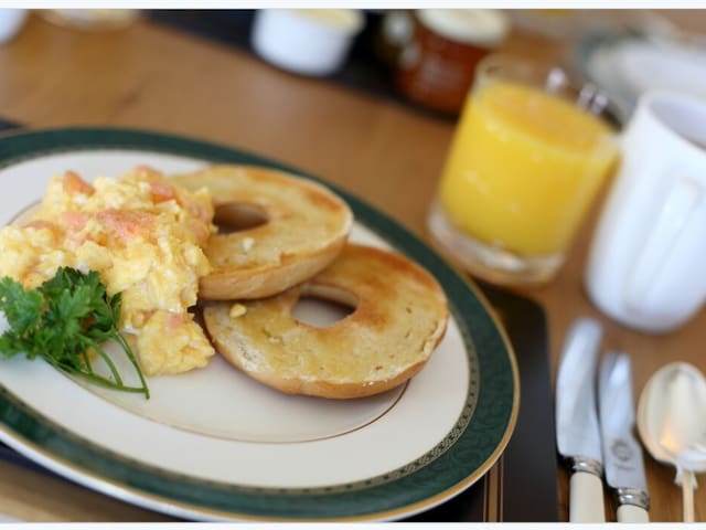 Locally smoked salmon, local free range eggs, crisp toasted bagel...breakfast choices are wide ranging.