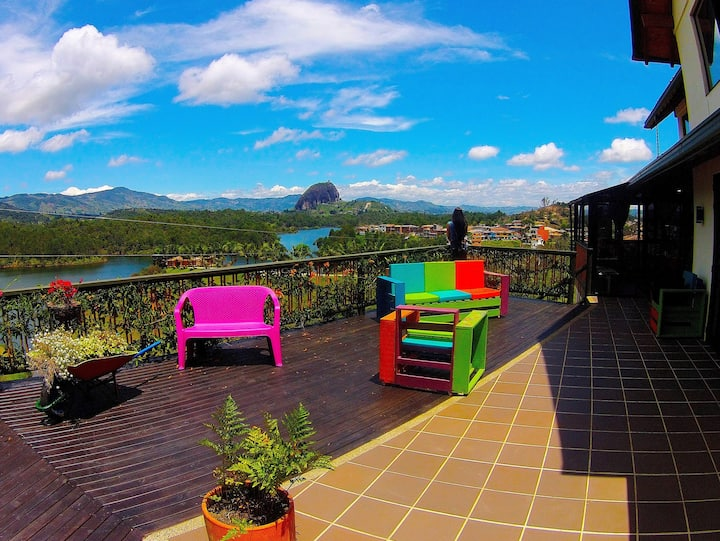 Colorful Colombian Home in Guatape with Terrace