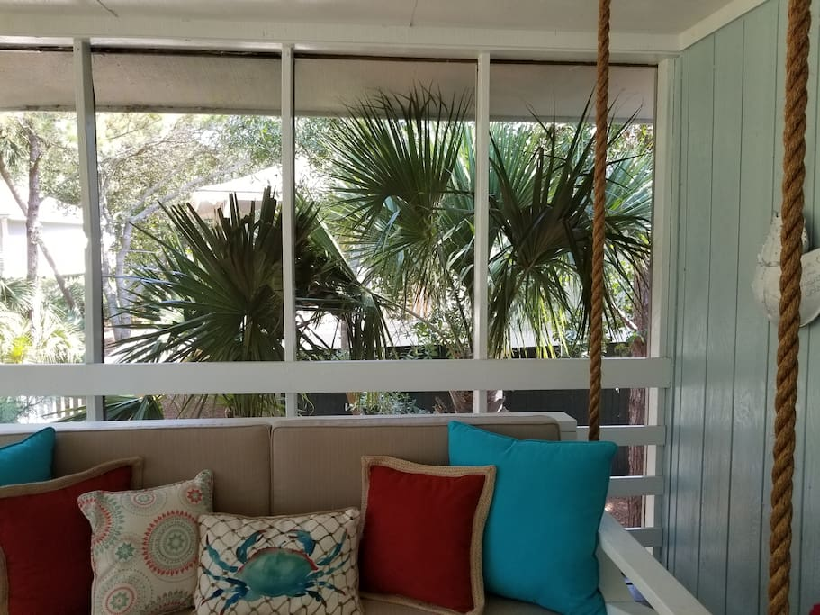 added two large palm trees for privacy on screened in porch