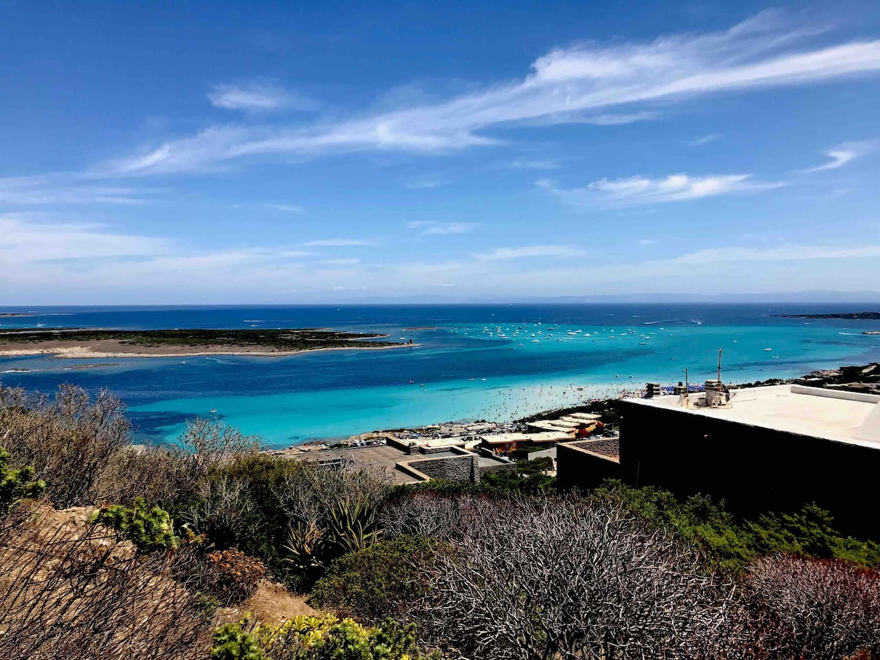 The view from the house towards 'La Pelosa' beach