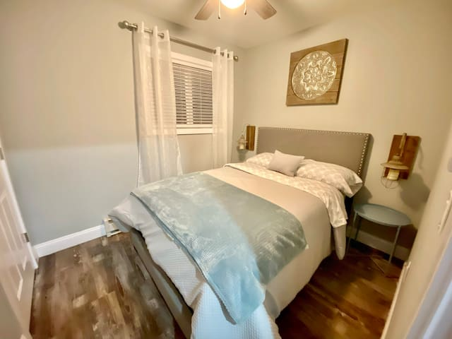 Full size bed with premium mattress. Nice size closet to store your belongings.