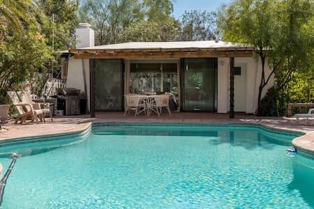 Central and Stylish Midcentury Pool House