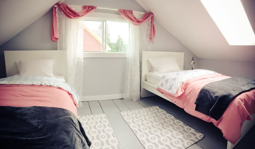 Bedroom 2 - two single beds, with skylight