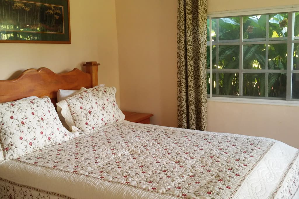 Comfy queen bed with linens furnished.