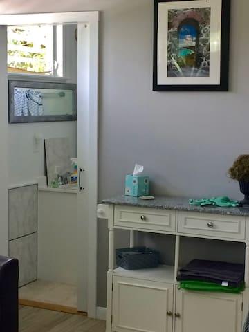 door way to bathroom and shower