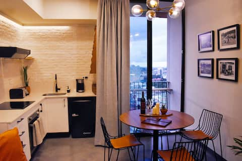 Golden Coffee Studio with spectacular sunset view
