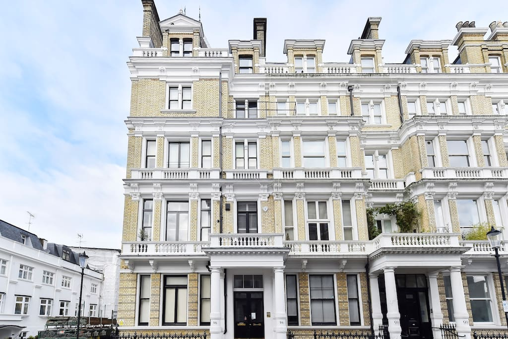 The flat is on the fourth floor of an elegant Victorian block