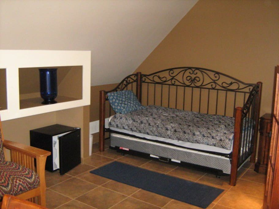 Bedroom 1 with Private Bath and Mini-Fridge