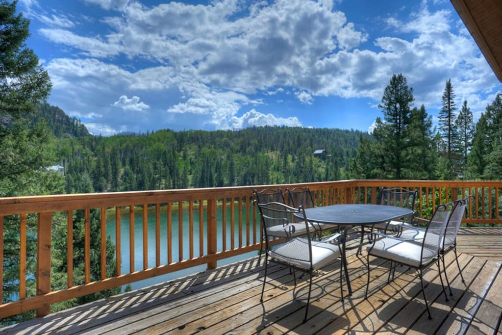 Outdoor Dining on Wrap Around Deck w Lake and Mountain Views