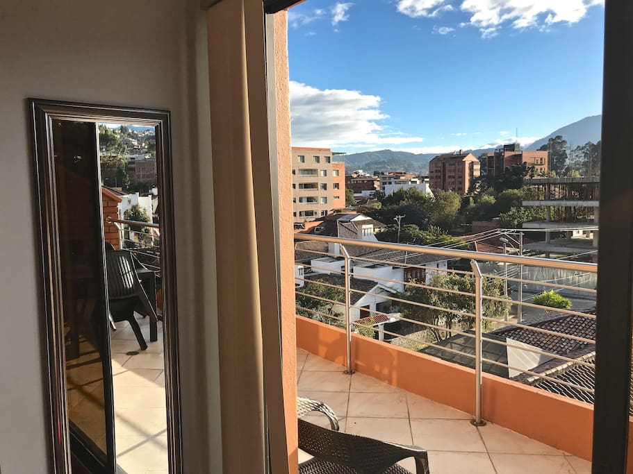 View from bedrooms with sliding doors onto terrace