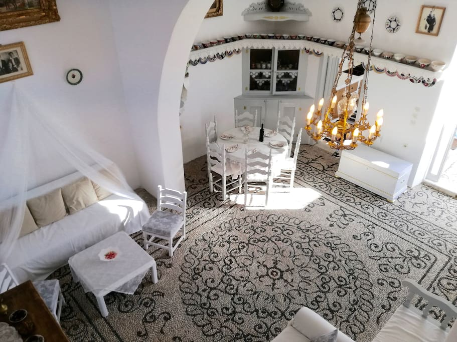 """Traditional artistic pebble floor in the main """"Sala""""."""