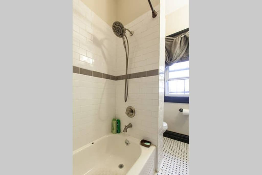 Shared bath, high shower head