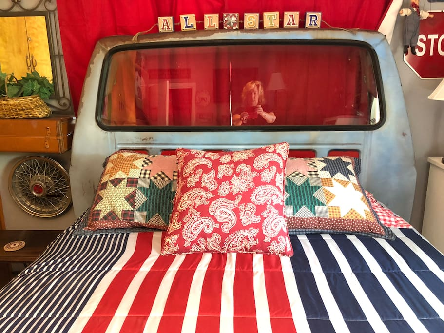 An old truck made into a bed!