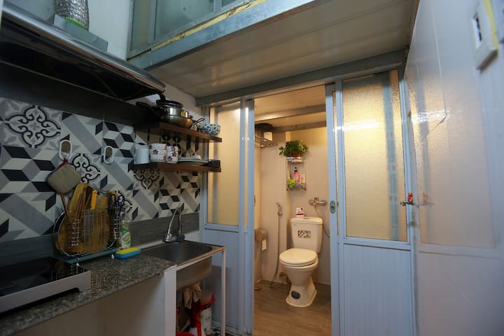Lovely kitchen & toilet are located outside the studio.