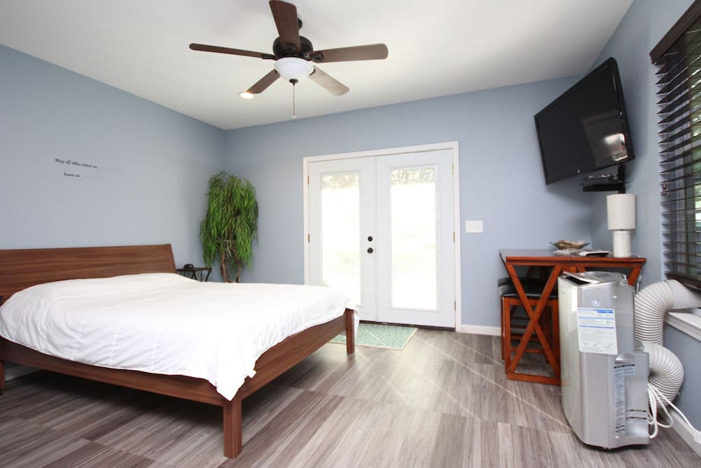 Full DirecTV package and a workspace for business, as well as your own controlled air and heating for the suite.