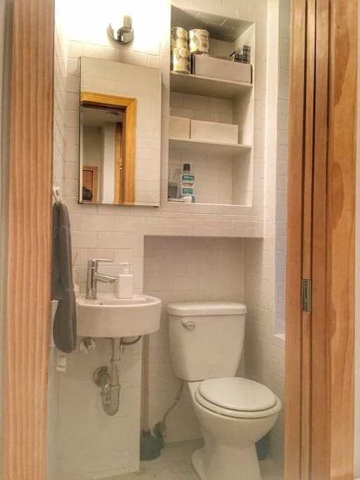 Private toilet and sink in the room
