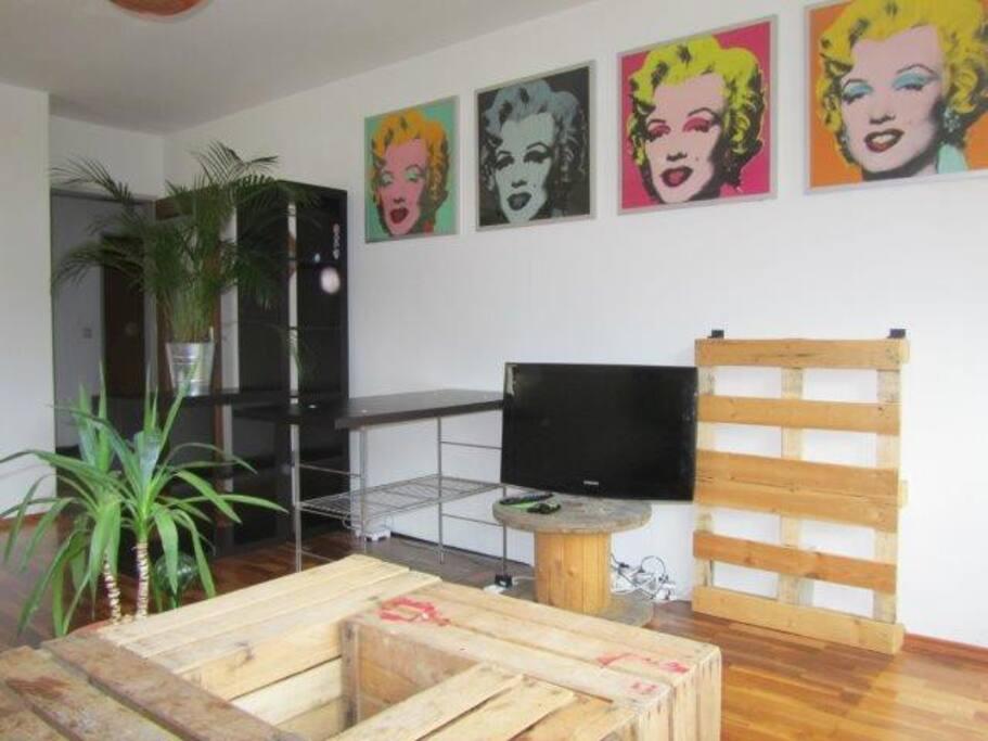 Fernseher mit Kabel-TV im Wohnzimmer, WLAN