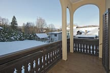 "Garden view from balcony│Room ""Bled Island"""