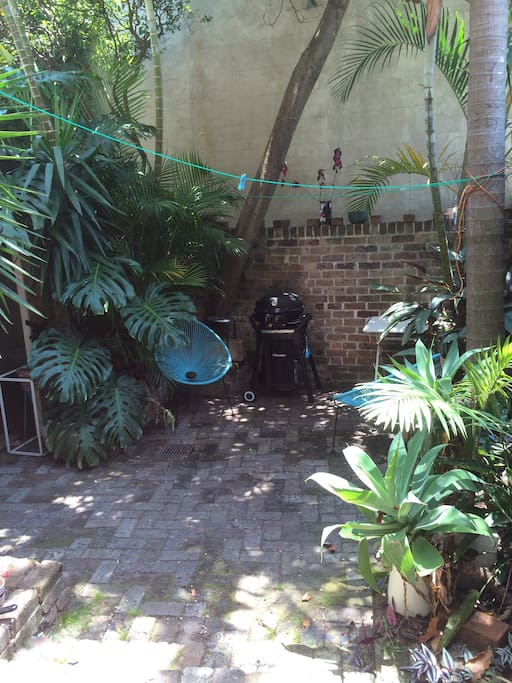 A nice relaxed courtyard with a BBQ, Palm Trees and Acapulco Chairs.