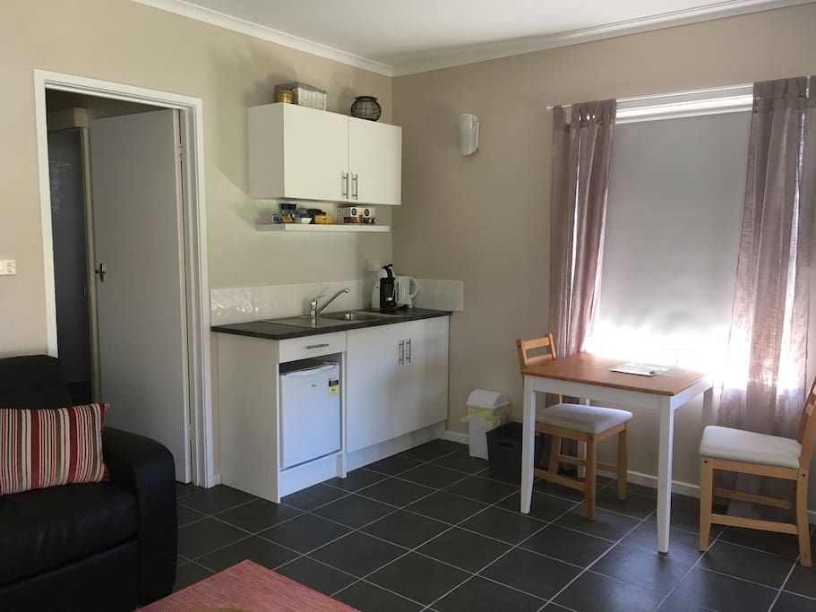 A well-supplied kitchenette