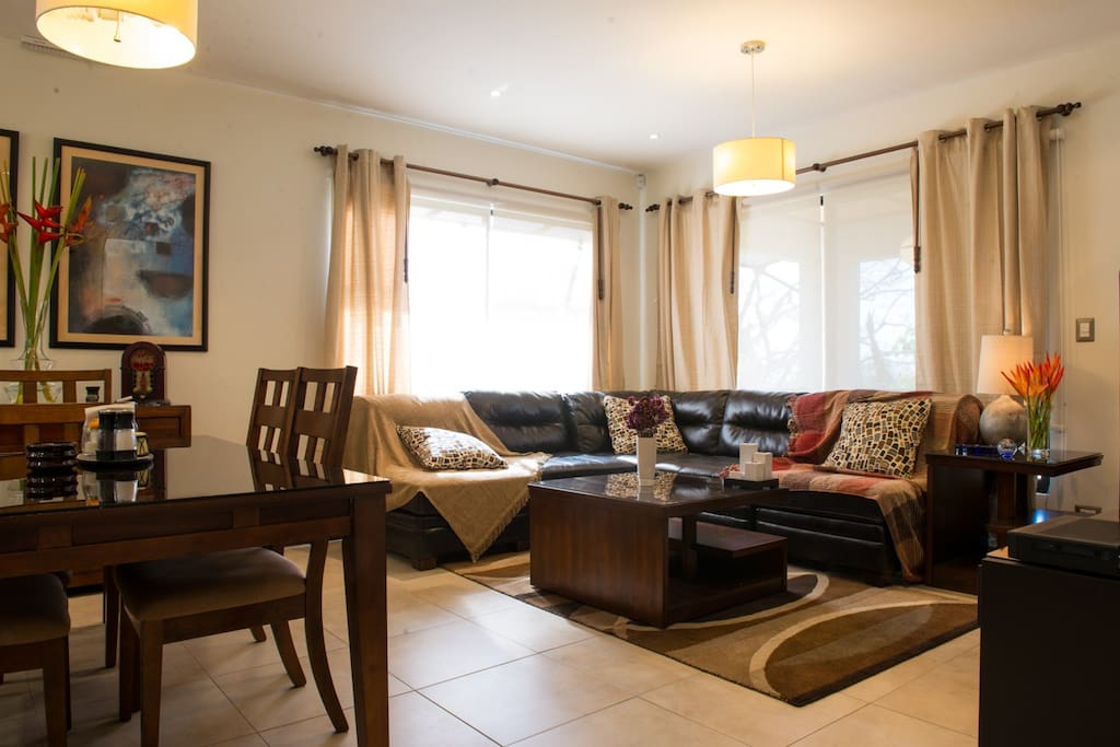 Main social area: living room with TV, dining room and kitchen all integrated.