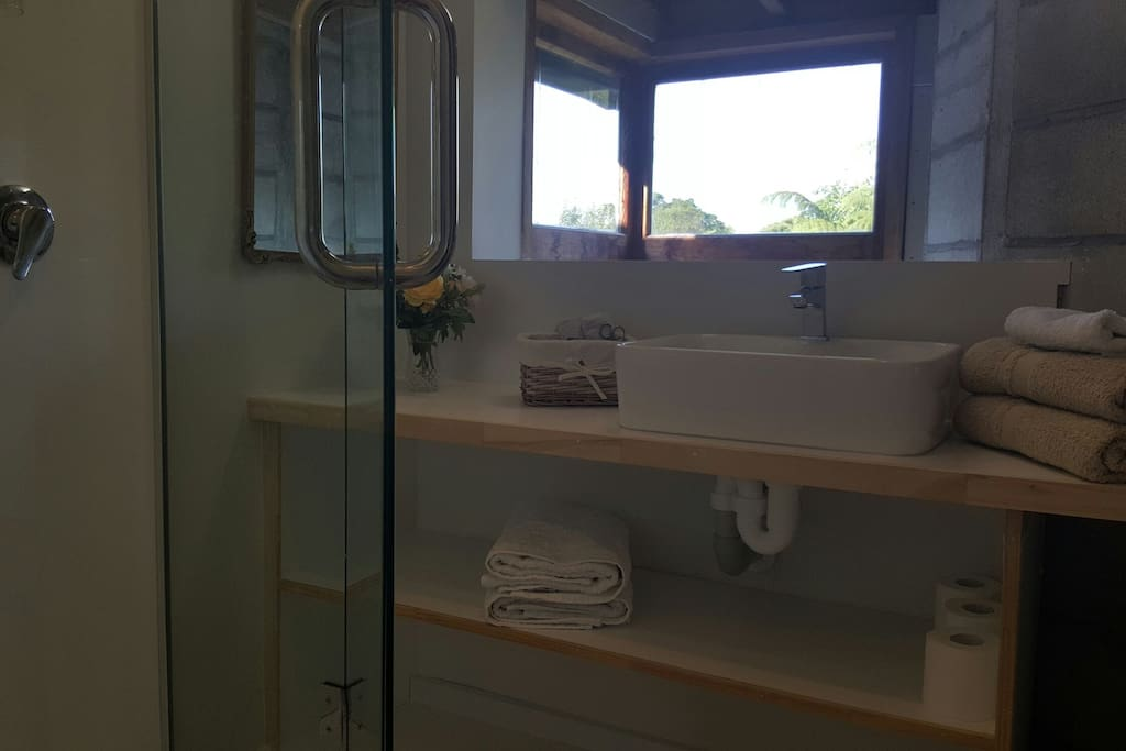 Private ajoining ensuite. Not the best photo but clean and all you need.