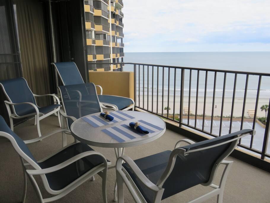 Large Balcony overlooking the ocean