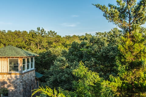 Sleep among the treetops at Treefrog Tower!