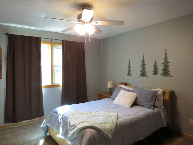 Pine tree room, comes with natural light, ceiling fan, double bed, closet, and television.