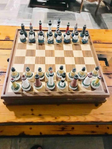 Playing chess has always been one of our favorite things to do.  This beautiful lighthouse chess is beloved by all, we hope you enjoy playing as much as we do.