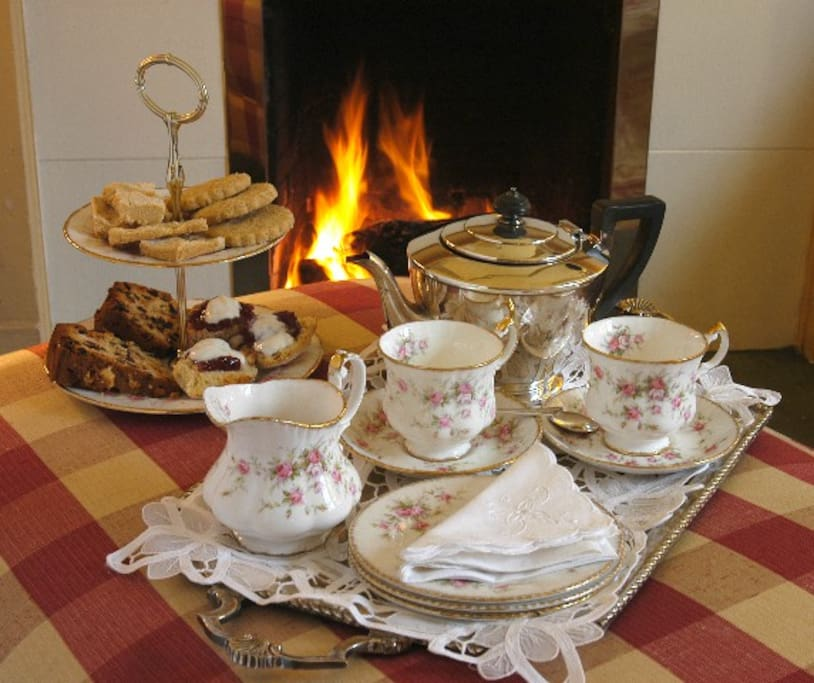 Afternoon tea and home baking in the drawing room Scaurbridge House