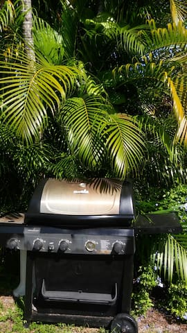 2 Barbecue grills filled with gas & 3 tables for your family