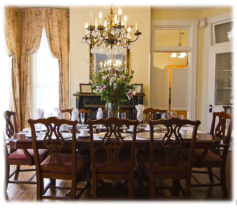 Breakfast is served in our elegant dining room every morning.