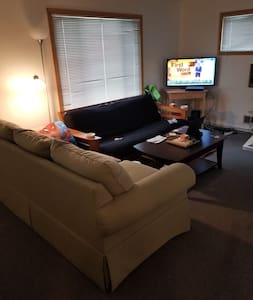 Chill couch in living room of cannabis house
